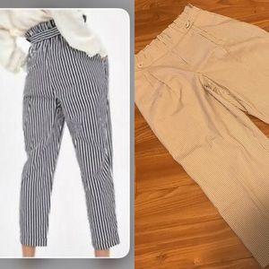 Zara striped paper bag culottes sz m